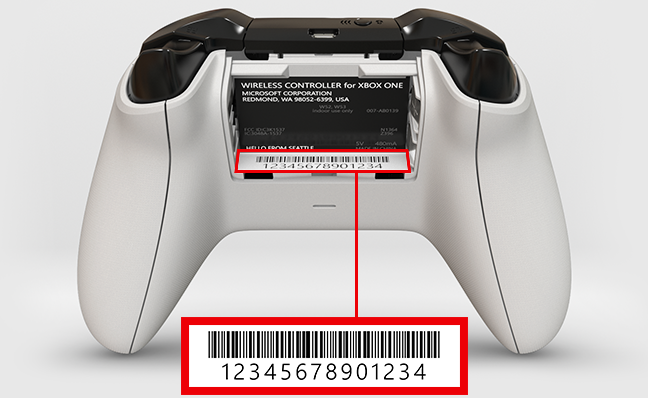 You'll find the Xbox Series X|S serial number on a sticker, printed just below the bar code.