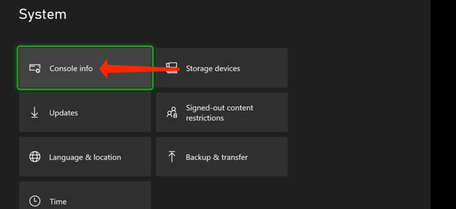 """Under the """"System"""" page of Xbox settings, select """"Console Info."""""""