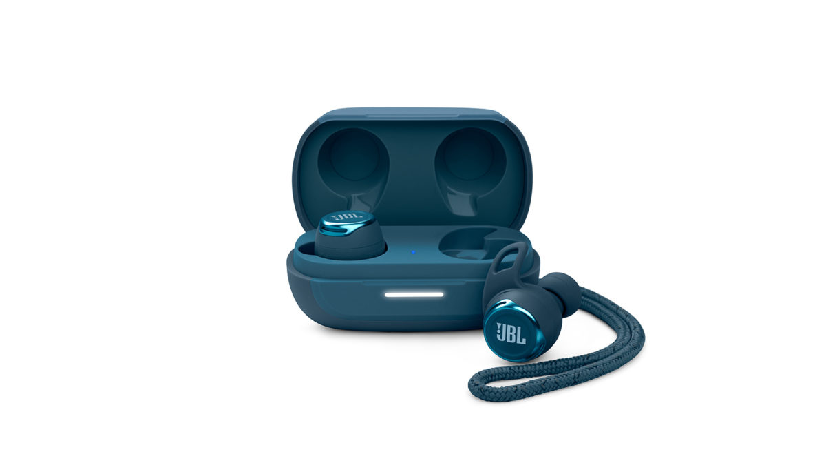 The JBL REFLECT FLOW PRO true wireless earbuds in blue against a white background.