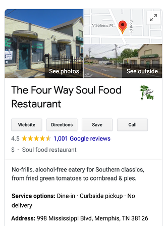 Driving traffic through local SEO featuring the Four Way Soul Food Restaraunt