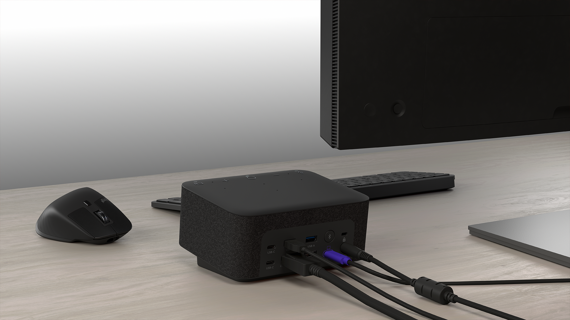 The Logi Dock's backside with several USB ports.