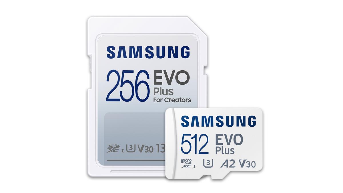 Samsung EVO Plus SD and MicroSD cards.