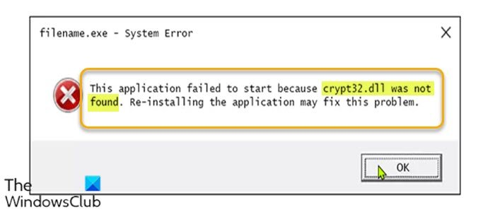 Crypt32.dll not found or missing error