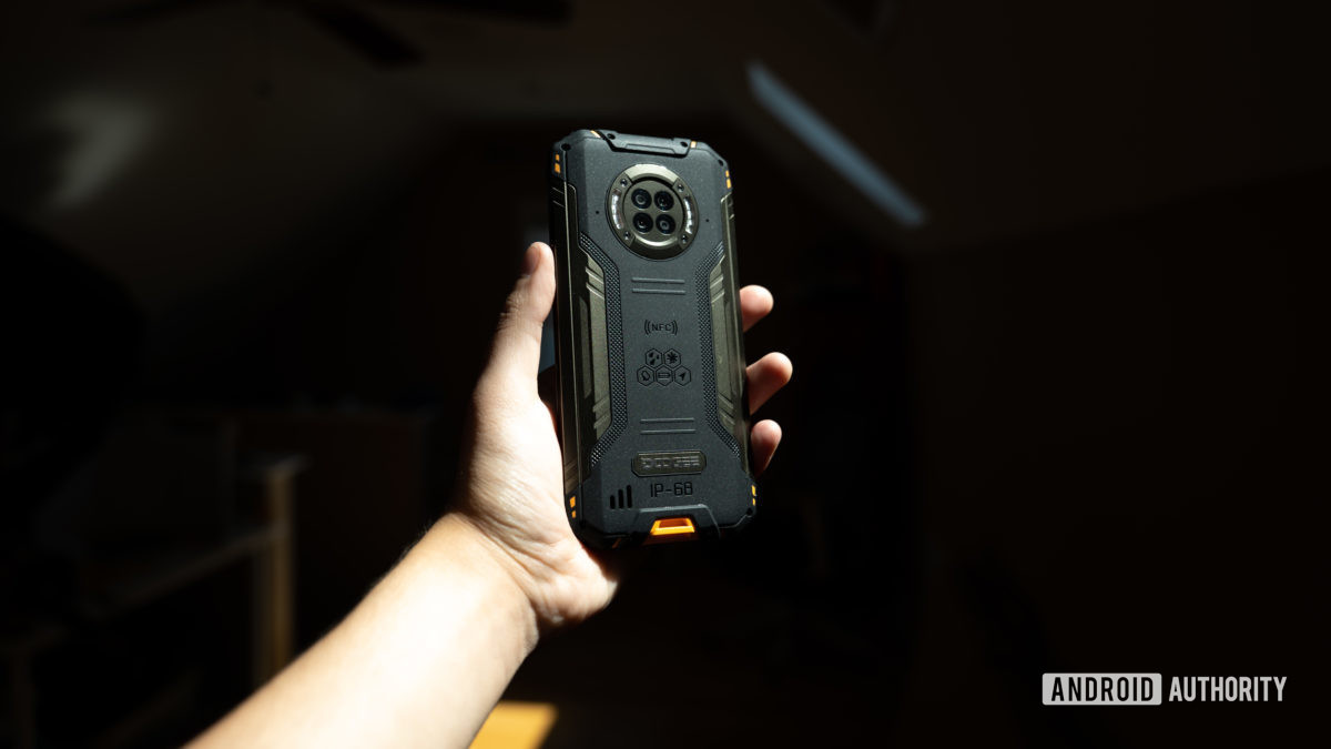 Doogee S96 Pro in hand showing the rear of the device.