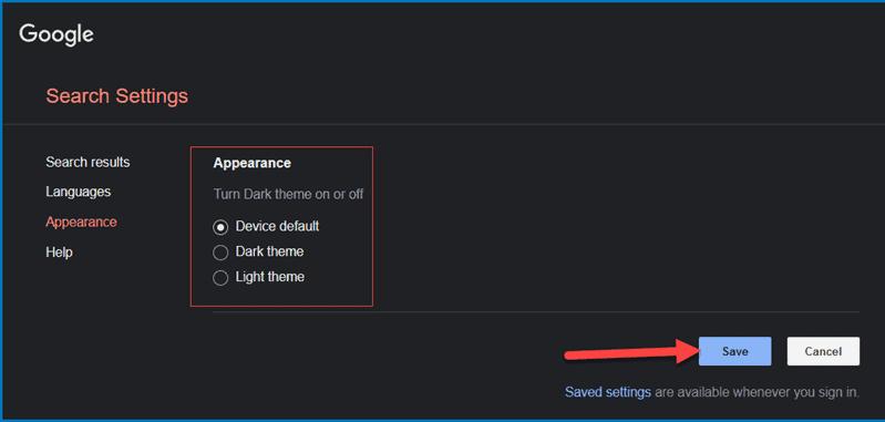 Google search appearance settings - change theme