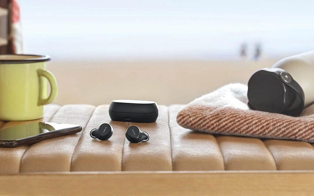Jabra Elite 7 Pro earbuds out of black case