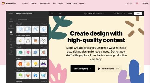 Home page of Mega Creator