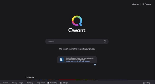 Home page of Qwant