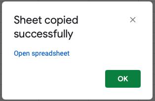 Sheet copied confirmation