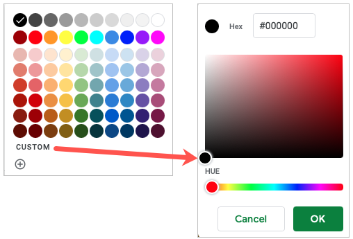 Choose a color or add a custom color