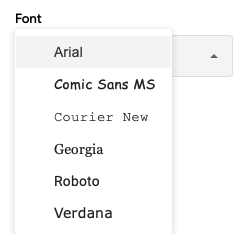 Select a style in the Font drop-down list