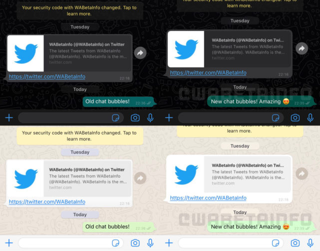 whatsapp redesigned chat bubbles ios