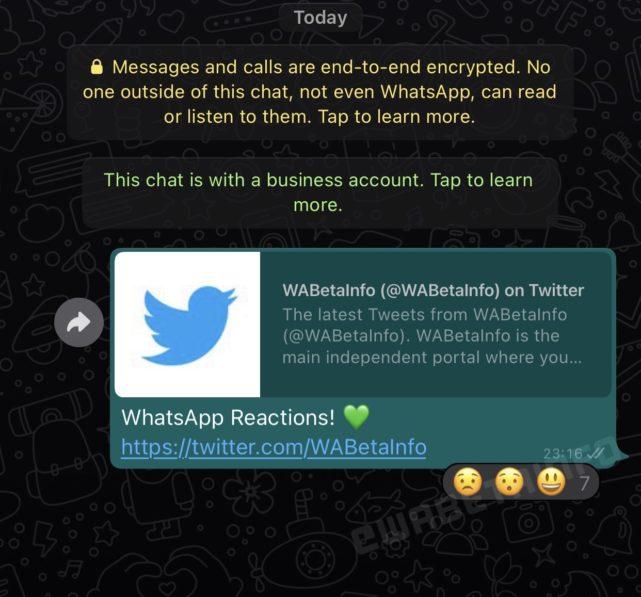 whatsapp message reaction ios