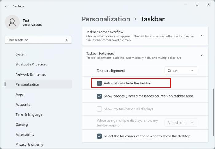 auto hide taskbar in Windows 11 pic5