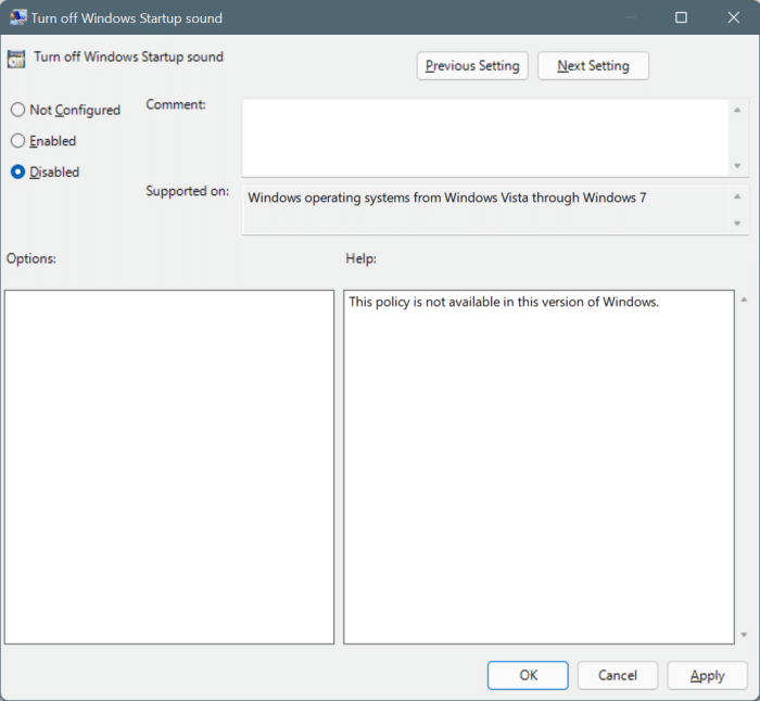 enable or disable startup sound in Windows 11 pic6