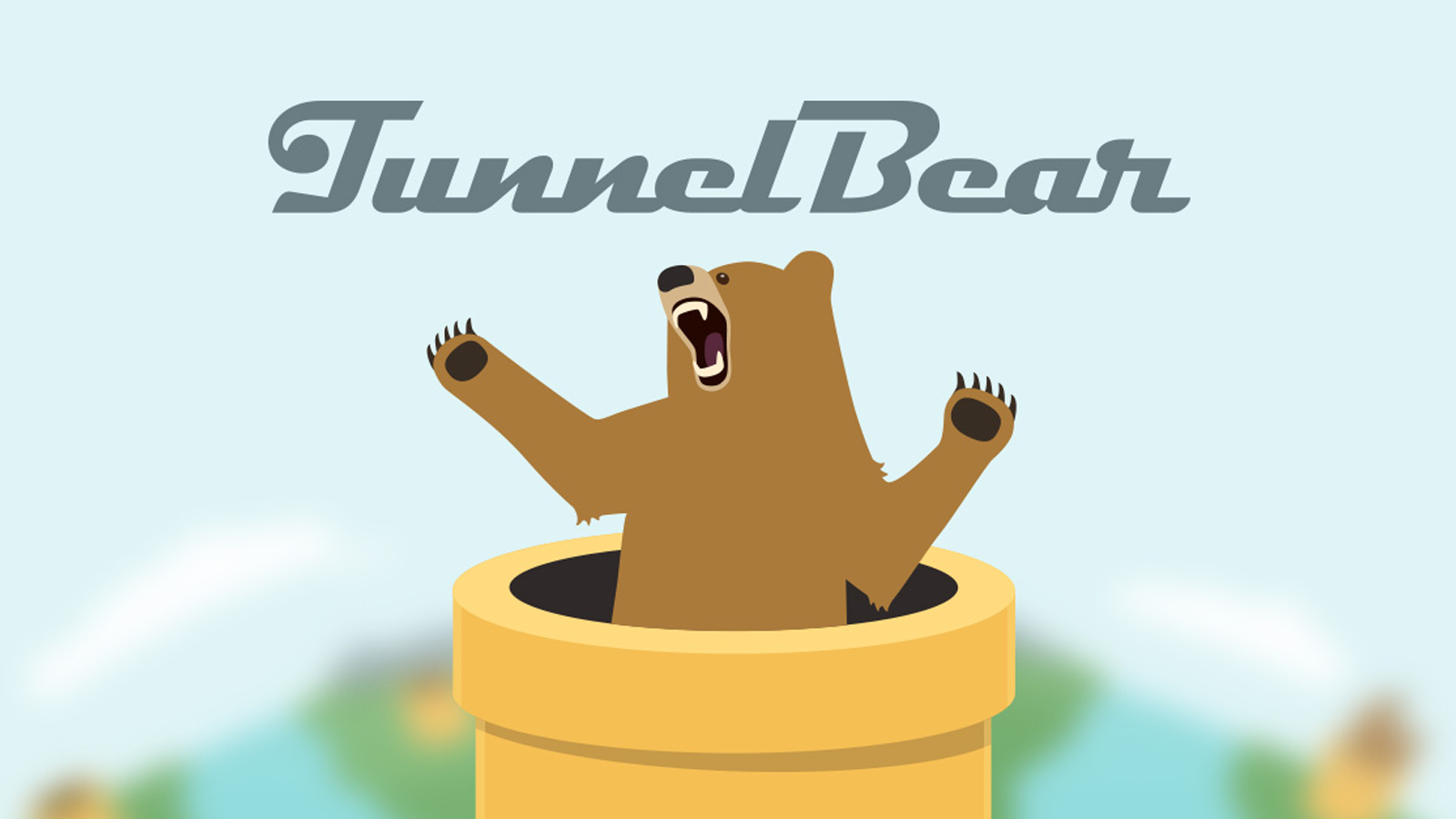 Tunnelbear name and logo against blurry mountain background