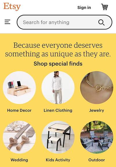mobile website design: etsy homepage