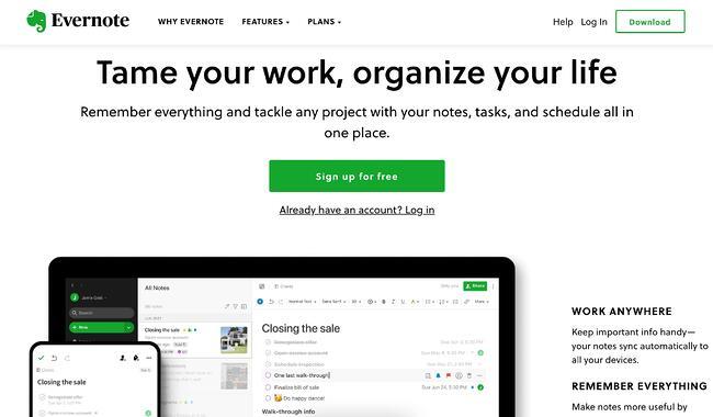 mobile website design: evernote desktop homepage