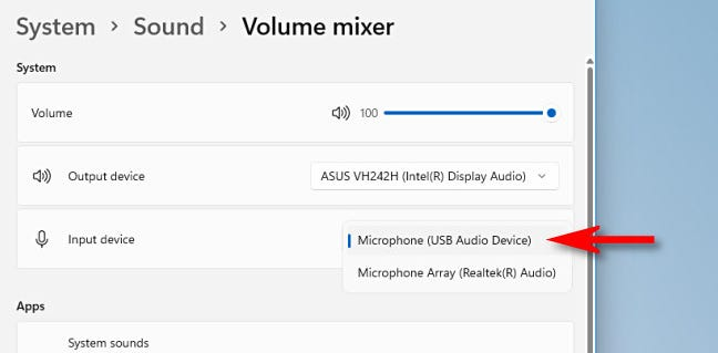 """In Volume Mixer, select a microphone with the """"Input"""" drop-down menu."""