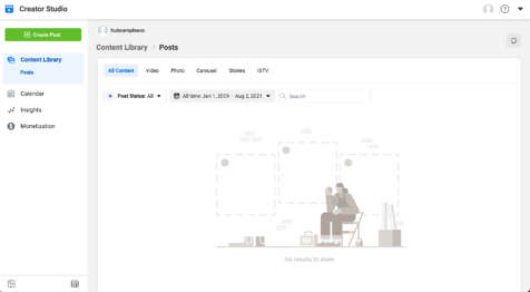 example of instagram creator studio dashboard of profile content